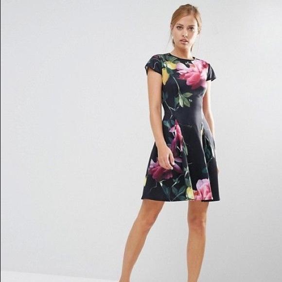 Ted Baker Dresses Allisia Citrus Bloom Skater Dress Black Poshmark